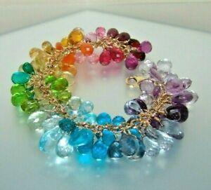 14k  Gold GF Multi Gemstone Briolette Charm Bracelet Rainbow Colors