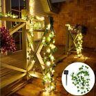 10m Led Solar Power Fairy Lights String Outdoor Party Garden Ivy Leaf Light Lamp