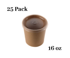 25 Pack 16 oz Disposable Kraft Paper Soup Containers with Plastic LIDS