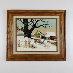 Original H Hargrove Barn In Winter Oil Painting on Canvas Signed Certified 14x12