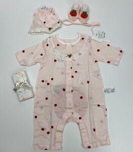 Ettoi baby clothes strawberry bodysuit L/Pink set 3 pieces Size 6-12M #97B