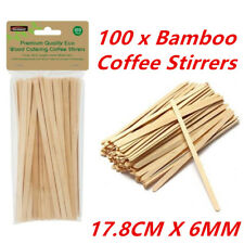 100 Wooden Craft Stick Paddle Pop Popsicle Coffee Stirrers Ice Cream Sticks WMCV