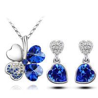 Diamante Royal Blue Jewellery Hearts Set Drop Earrings Necklace Pendant S632