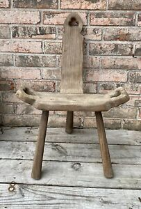 Vintage Wood Milking Stool Birthing Chair Folk Art 3 Legged Rustic