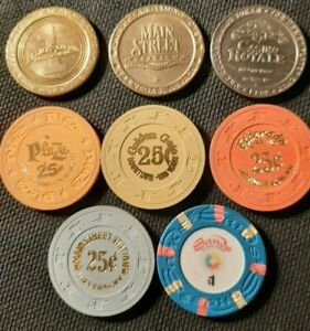 LAS VEGAS CASINO CHIPS AND COIN TOKEN LOT (8)