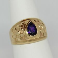 Men's Pinky Ring Amethyst 10K Yellow Gold Size 6.25 Fancy