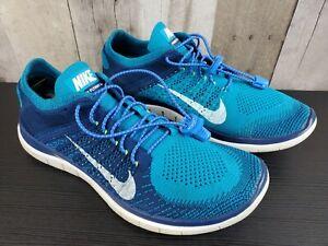 Nike Free 4.0 Flyknit Turquoise Brave Blue Volt Sz.8.5 Trainer Runner 631053-401