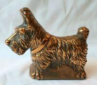 """Vintage Bronze Scottie Dog Terrier 5"""" x 4"""" & 9.8 oz Paperweight or Decor"""
