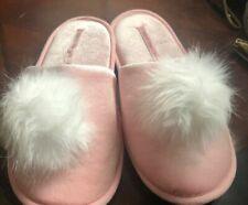 NEW Victoria Secret Pom Slippers Fur Pink Purple M L Gift Cozy Velvet