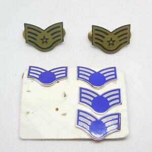 Air Force Sergeants Stripes Collar Pins  Senior Airman Pins 6 pieces
