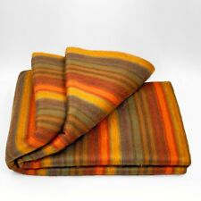 SOFT&WARM GOLDEN ORANGE SUMMER STRIPED ALPACA LLAMA WOOL BLANKET QUEEN BED SOFA