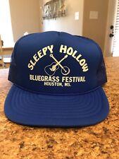 NOS Sleepy Hollow Bluegrass Festival Blue SnapBack Cap Trucker Hat Houston, MS