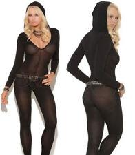 women Bodystocking Bodysuit Lingerie Sheer Babydoll Underwear Catsuit hooded new