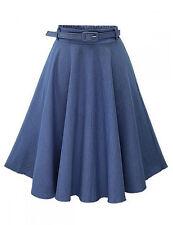 2016 Fashion Vintage Women High Waist Denim Jeans A-Line Flare Stretch Mid Skirt