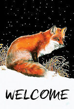NEW LARGE TOLAND FLAG WINTER WELCOME  RED FOX BEAUTIFUL FLAG 28 x 40