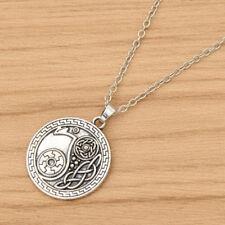 Round Viking Raven Pendant Necklace Silver Metal Chain Amulet Rune Men Necklace