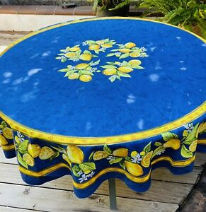 """French Provencal Tablecloth Blue 70"""" Round Lemons Blossoms 100% Cotton"""