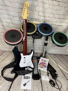 Nintendo Wii Rock Band 2 Bundle 2 Dongles Stratocaster Guitar Lego Game Tested