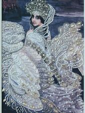 "Swan Princess Bead Embroidery Kit Nova Sloboda 12x14"" Pre-Printed Canvas"