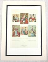 1888 Antico Stampa 17th Secolo Francia Donna Costume Storico Moda Abito