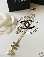 NEW CHANEL CLASSIC GOLD CC CRYSTAL PEARL DROP PENDANT NECKLACE