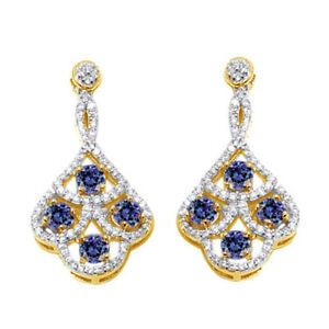 2.99 Ct Tanzanite & White Zircon Round Cut 14K Yellow Gold Finish Drop Earrings