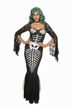 Adult Womens Skeleton Mermaid Fancy Dress Halloween Fantasy Costume