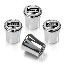 Jeep Grille Black on Silver Chrome Valve Stem Caps