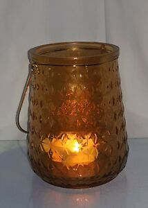 clear brown glass lantern candle holder with metal handle blown glass jar shape