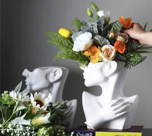 Ceramic White Human Head Flower Pot Vase Statue. Retro Plant Flower Pot. (White)