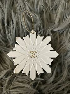 Chanel Authentic White And Gold Paper Tag Ornament Snowflake