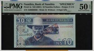 Scarce Rare Specimen Note 2001 Namibia $10 Banknote in PMG 50EPQ Gem UNC
