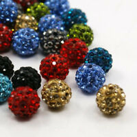 100PC Mixed Color Pave Clay Round Disco Ball Beads Rhinestones Loose Spacer Bead