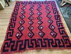 "Albanian Kilim Rug Handmade Red and Black Thick Wool ""Shaggy Rug"" RARE Antique"