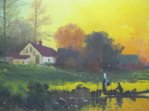 Antique 1800's Pastel/Gouache on Board Painting Bucolic Lake at Fiery Sunset yqz