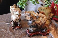 Old Chinese Jade Stone Fu / Foo Dog Winged Beasts on Rosewood Pedestals'...