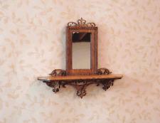 Dollhouse Miniature  1:12 scale mahogany fretwork mirror - Artist Made