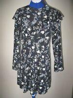 K TOPSHOP UK 8 PETITE DRESS FLORAL PRINT TULIPS FLOWERS MULTI COLOUR LONG SLEEVE