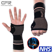 Sport Wrist Support COPPER Infused Carpal Tunnel Splint Compression Gloves Brace