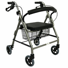 Rollator Walker Walking Frame Foldable Mobility Aid Height Adjustable Seat Light