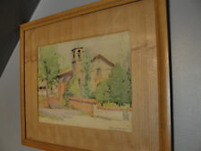Signed water color CARRIE HARPER WHITE jucutacato mexico church   1939