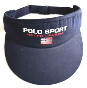 Vintage Polo Sport Ralph Lauren USA Flag Strapback Visor Hat 90s Navy Blue