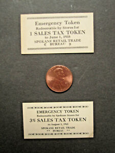 June 1935 & August 1941 Emergency Tax Token Chit Scrip retail Spokane Washington
