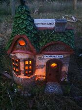 Solar Tooth Fairy School - lights up at night - fairy garden house, village