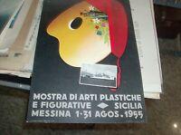 locandina cartonata MOSTRA DI ARTI PLASTICHE E FIGURATIVE MESSINA 1955 CB29