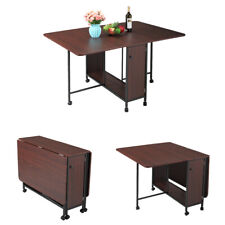 Folding Dining Table Craft Table w/Wheels Saving Space for Kitchen Dining Room