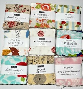 """Lot of 9 MODA MINI charm packs pre-cut quilting fabric, SMALL 2.5"""" squares*New"""