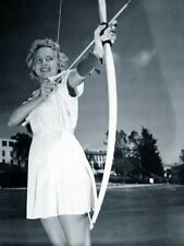 WW2 Photo WWII US Navy Nurse Practicing Archery San Diego  World War Two / 1667