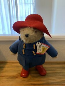 """Vintage 22"""" Paddington Bear Plush Toy Doll Eden With Tags Red Boots/Blue Coat"""