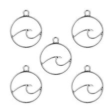 10 Pcs Silver Plated Wave Shape Alloy Charms Pendant DIY Necklace Jewelry Making